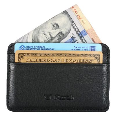 *** מבצע *** ארנק קטן לכרטיסי אשראי מעור Full Grain | דגם 1539צבע שחור כהה מתנה קטנה