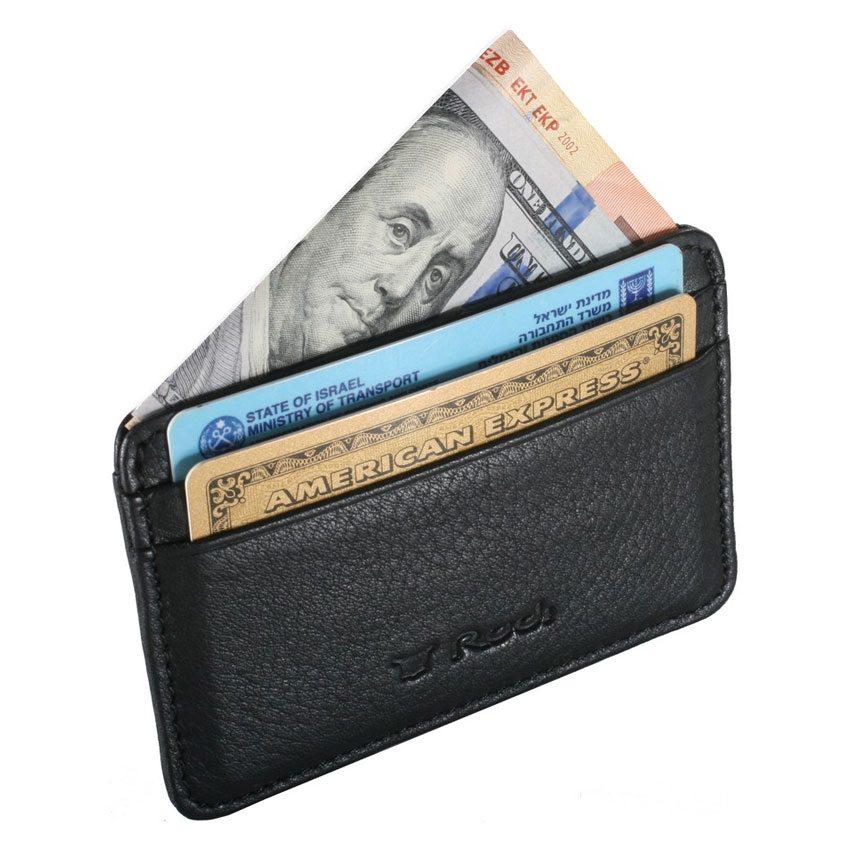 ארנקון לכרטיסי אשראי מעור Full Grain | דגם שבתאי צבע שחור – אשראית