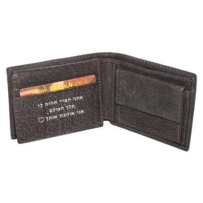 *דגם פלוטו* ארנק עור קטן לגבר | ניתן לבצע חריטה בארנק | צבע אפור כהה