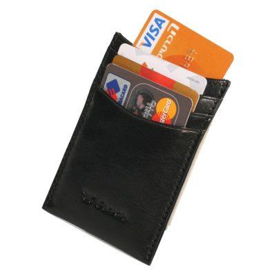 Rudi – מני קליפ – Money Clip עם מגנט מעור ברידג' שחור דגם 1056 – הטבעה עד 4 מילים