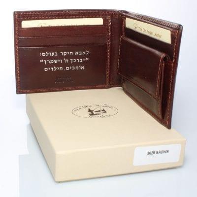 מתנה יוקרתית – ארנק כסף דק לגברים מעור הטוב בעולם, הכי איכותי שיש, תוצרת איטליה Full Grain Leather דגם 8025