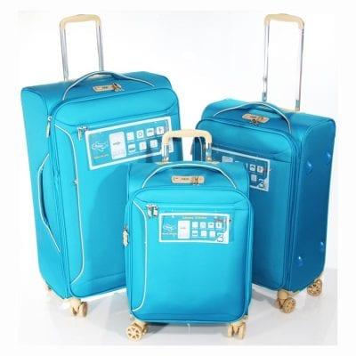 """מזוודות קלות 4 גלגלים – סט 3 מזוודות 19"""" + 24"""" + 28""""  דגם 13005 Aurora Verage – המזוודות הטובות בעולם – אחריות 36 חודשים"""