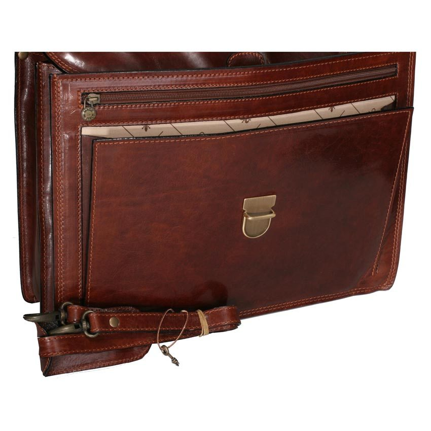 Briefcase with leather shoulder strap – item 2016