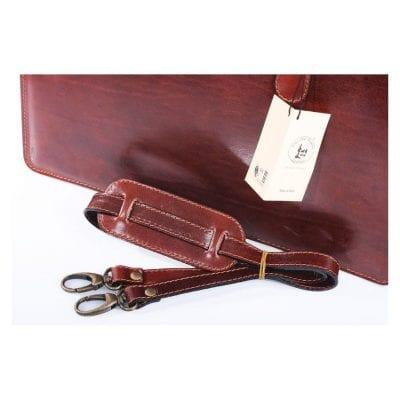 תיק עם ידיות מעור ברידג' אמתי ואיכותי תוצרת איטליה – יוניסקס קל משקל בטנה מעור – דגם 2115