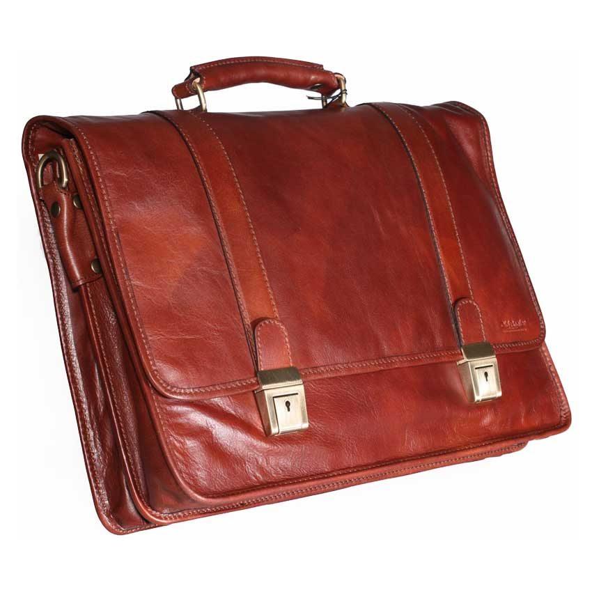 Soft Calfskin Leather Briefcase with shoulder strap – item 309