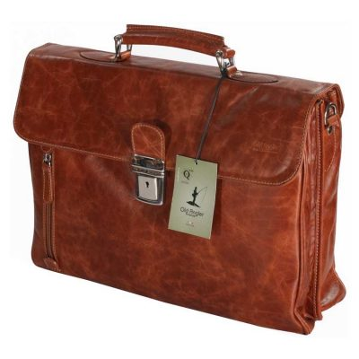 תיק עור לאנשי עסקים כולל תא מרופד ללפטופ מעור בופאלו מובחר תוצרת איטליה – 758