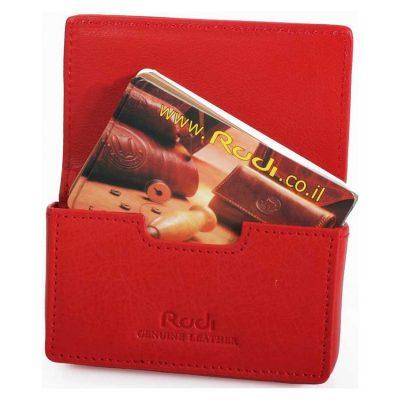 ארנק לכרטיסי ביקור או אשראי מעור נאפה איטלקי Rudi  דגם 9118 אדום הטבעה עד 5 אותיות