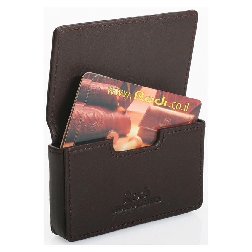 ארנק לכרטיסי ביקור או אשראי מעור נאפה איטלקי Rudi  דגם 9118 חום כהה הטבעה עד 5 אותיות