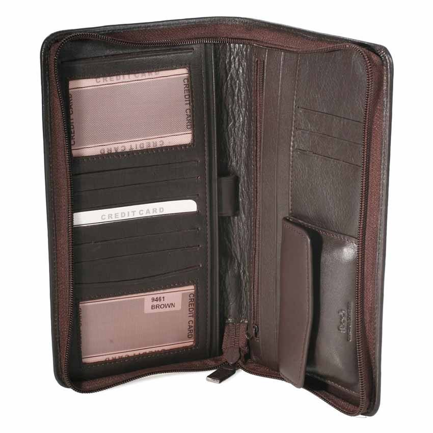 Napa leather travel wallet Model 94615 Dark brown color we can emboss up to 4 words only and one line