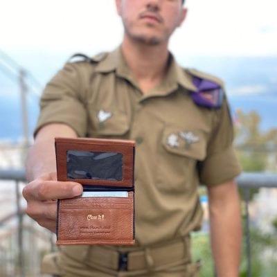 *דגם נפטון* ארנק כיס / חוגרון לחיילים מעור איטלקי צבע קאמל (ניתן לבצע הטבעה אישית)