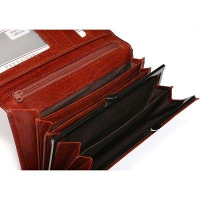 ארנק לנשים חום קלאסי עור ברידג' איטלקי איכותי כולל מנעול רטרו למטבעות | דגם 1680155