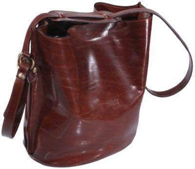 תיק שק מעור לנשים, תוצרת איטליה בטנה ומחיצה הכוללת רוכסן מעור | דגם 2054