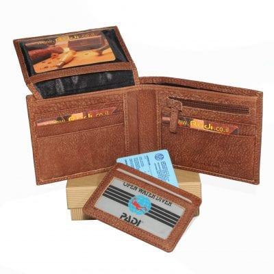 מתנה לסבא – ארנק לגבר מעור אפריקה איטלקי כולל נרתיק לרישיון נהיגה / כרטיסי אשראי | דגם N60462