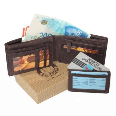 מתנה מקורית ארנק לגבר מעור אפריקה איטלקי כולל ארנקון לנרתיק לרישיון נהיגה / כרטיסי אשראי | דגם N60464