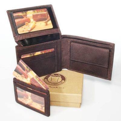 *** מבצע מטורף וחד פעמי *** מתנה לבעל Rudi סט ארנק לגבר עם נרתיק לכרטיסי אשראי נשלף יפהפה מעור איטלקי | דגם N90464