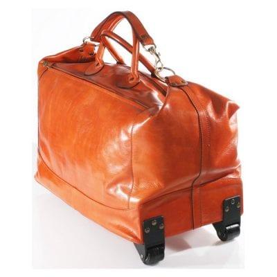 תיק נסיעות מעור איכותי מתאים עלייה למטוס עם גלגלים תוצרת איטליה גודל טרול דגם 4071