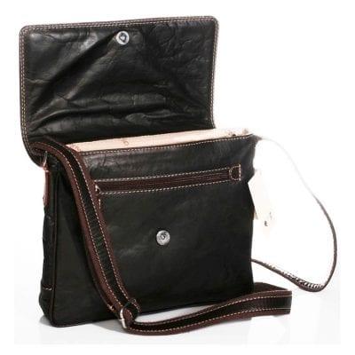 תיק שחור מעור בופאלו איכותי כולל תא מרופד ל iPad, תוצרת איטליה דגם 877