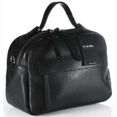 תיק עור שחור קלאסי בסגנון רטרו | תוצרת איטליה | Claudia Firenze | דגם 9416