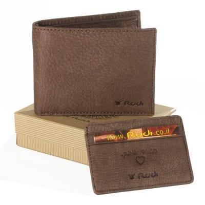 מתנה לגבר – ארנק עור לגבר כולל ארנקון לכרטיסי אשראי עם הטבעה לבבית | דגם PN60465