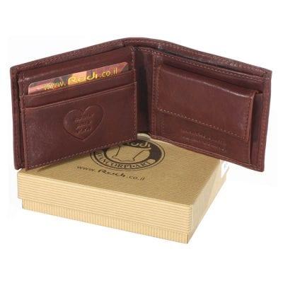מתנה מקורית לגבר – ארנק בגודל בינוני מעור ברידג' עם הקדשה לבבית | דגם P9041