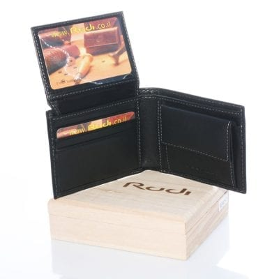 Men's Leather Wallet Model 90411 Includes Wooden Packaging *** Special Offer ***