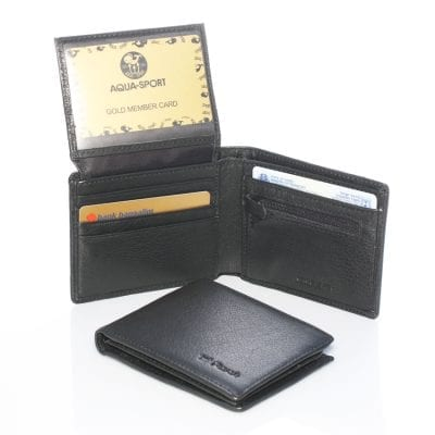 *** Our Best Seller *** 100% Genuine Italian Napa Leather Model 25012 Men billfold wallet leather lining under zipper