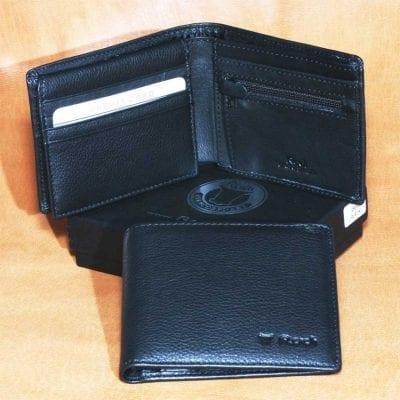 *** Our Best Seller *** 100% Genuine Italian Napa Leather Model 25012 Men billfold wallet leather lining under zipper