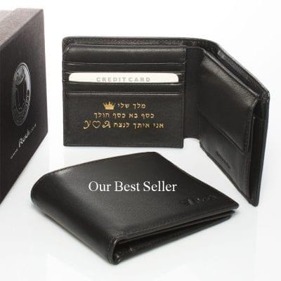 דגם מרקורי | ארנק מעור נאפה איטלקי שחור | מתנות לגבר