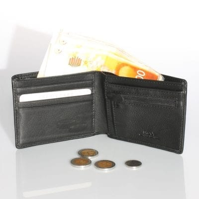 ארנקים לגברים – ארנק מעור בצבע שחור נאפה איטלקי אמיתי הטוב בעולם | דגם M3807 כולל כיס למטבעות