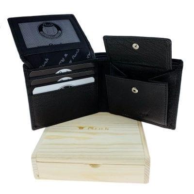 ארנק שחור לגבר מעור וינטג' אמיתי דגם סיאטל – בדגם זה לא ניתן לבצע הטבעות