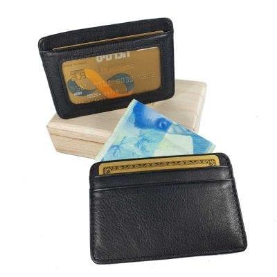 ארנקון לכרטיסי אשראי מעור Full Grain | דגם לאקי צבע שחור – אשראית (תקן RU2)