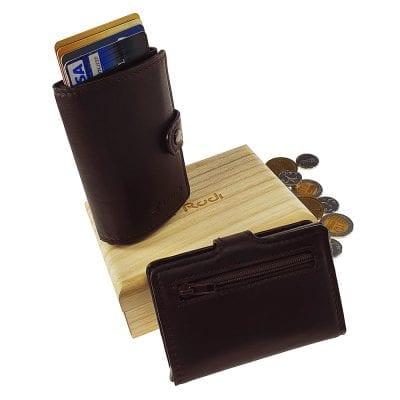 מיטשל חום שוקולד עם רוכסן + פטנט לשליפת כרטיסים | מעור נאפה איטלקי * RFID Blocking *