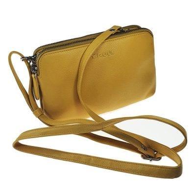 אוקספורד, תיק צד קטן לנשים מעור נאפה איטלקי אמיתי RFID Blocking * צהוב