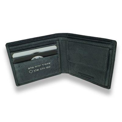 דגם גריין | ארנק מדליק מעור אמיתי | צבע אפור, 3 תאים כרטיסי אשראי בלבד