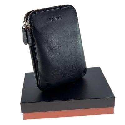 קליפורניה, תיק צד קומפקטי לנשים מעור נאפה איטלקי אמיתי RFID Blocking * שחור