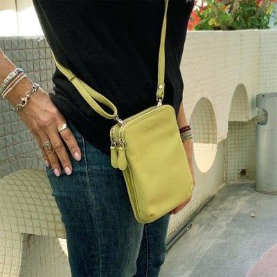 קליפורניה, תיק צד קומפקטי לנשים מעור נאפה איטלקי אמיתי RFID Blocking * ירוק