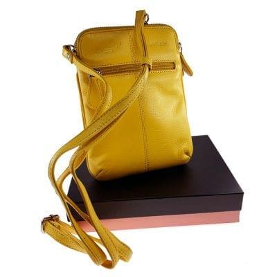 קליפורניה, תיק צד קומפקטי לנשים מעור נאפה איטלקי אמיתי RFID Blocking * צהוב