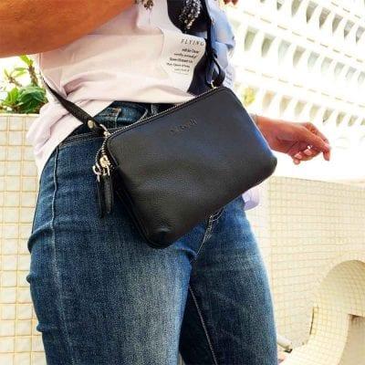 אוקספורד, תיק צד קטן לנשים מעור נאפה איטלקי אמיתי RFID Blocking * שחור