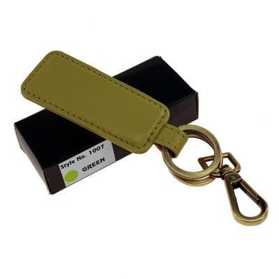 מחזיק מפתחות מעור דגם בוס, ניתן להטביע שורה אחת בלבד ירוק