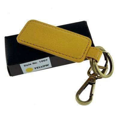 מחזיק מפתחות מעור דגם בוס, ניתן להטביע שורה אחת בלבד צהוב