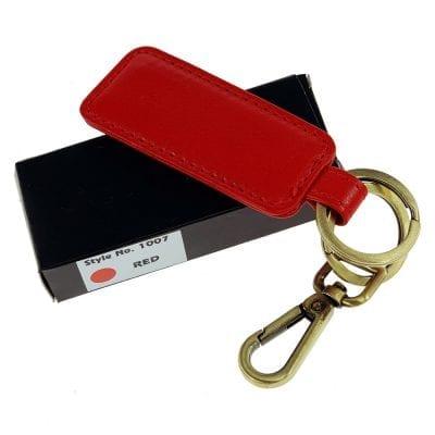 מחזיק מפתחות מעור דגם בוס, ניתן להטביע שורה אחת בלבד אדום