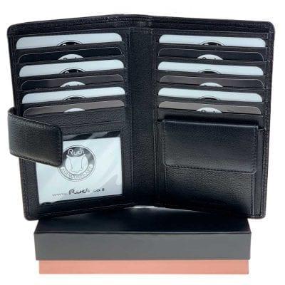 וגאס, ארנק כולל תא שמתאים לכל סוגי הטלפונים, פספורט, שטרות, כרטיסי אשראי וכו.. מעור נאפה איטלקי אמיתי שחור