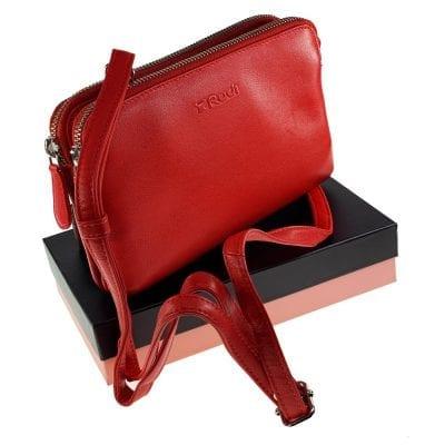 אוקספורד, תיק צד קטן לנשים מעור נאפה איטלקי אמיתי RFID Blocking * אדום