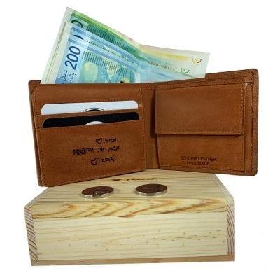 ארנק עור עם חריטה אישית בכתב ידך | ארנק מעור איטלקי אמיתי| מתנה לגבר