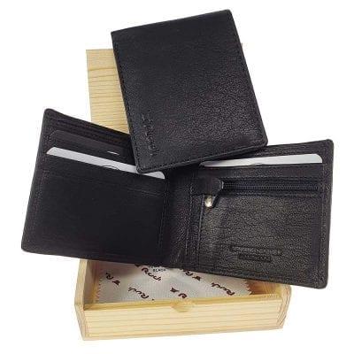 *** מבצע *** | ארנק דק מעור בופאלו שחור | מתנה לגבר אמסטרדם – ארנקי גברים – בארנק זה לא ניתן לבצע הטבעה