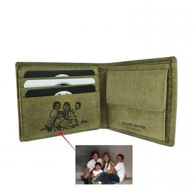 ארנק עור עם תמונה | ארנק מעור איטלקי אמיתי| מתנה לגבר